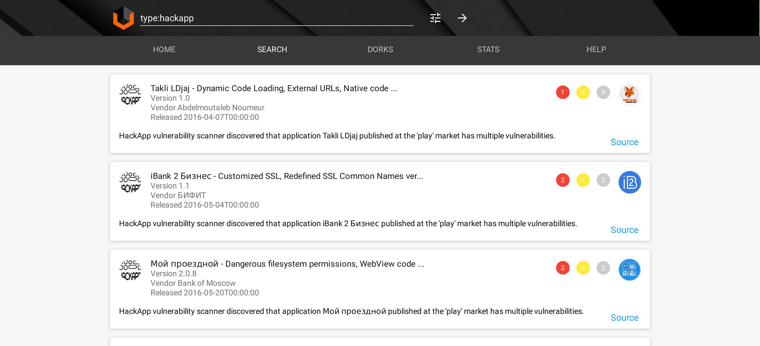 Поиск уязвимостей по базе HackApp