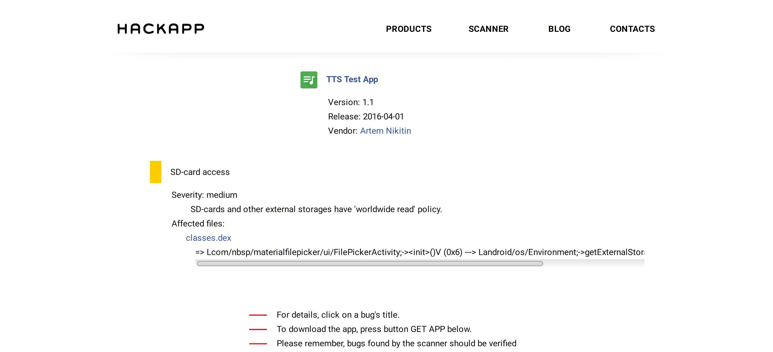 Описание бага на сайте HackApp