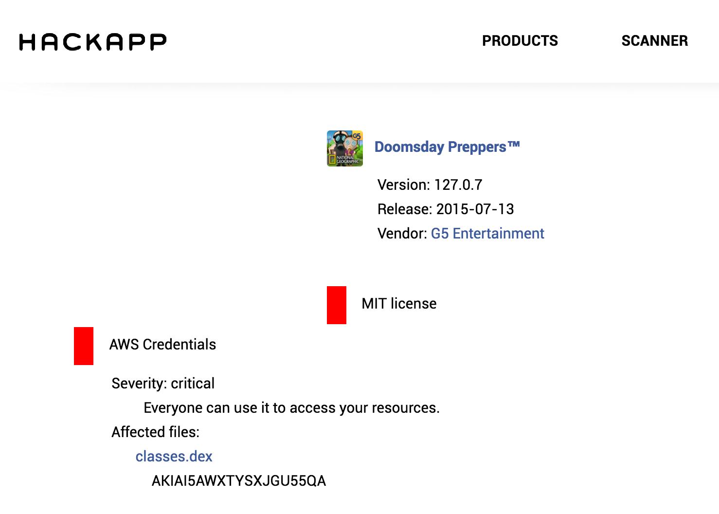 На сайте HackApp можно удобно посмотреть добытый AWS_ACCESS_KEY ключ
