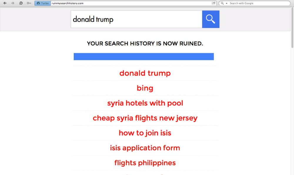 WWW: Ruin My Search History — сайт, который превращает историю поиска в помойку