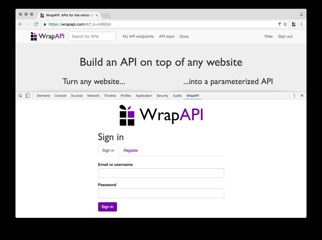 Для работы с WrapAPI нужно повторно авторизоваться еще и в расширении в консоли разработчика Chrome