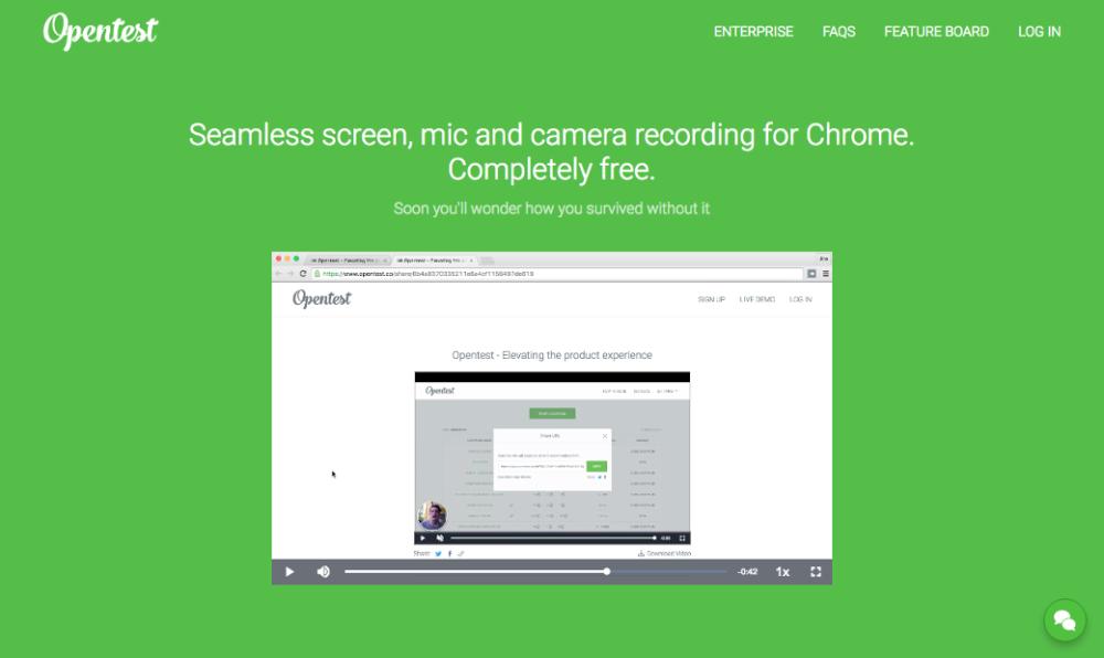 WWW: Opentest — плагин для Chrome, который пишет скринкасты в один клик