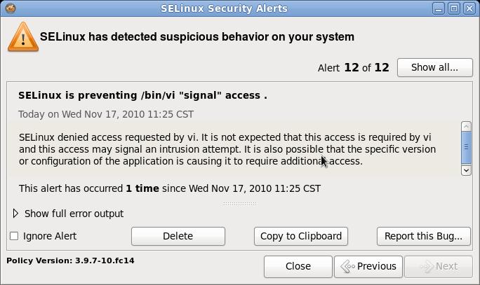 Сообщение SELinux при попытке «свернуть» Vim с помощью Ctrl-Z