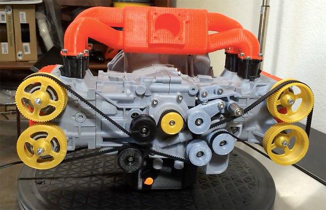 Изобретатель напечатал точную копию двигателя Subaru на 3D-принтере