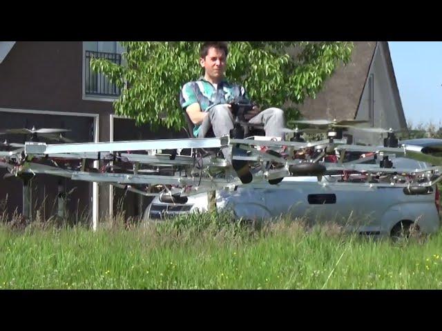 Шведский изобретатель испытал самодельный пилотируемый мультикоптер
