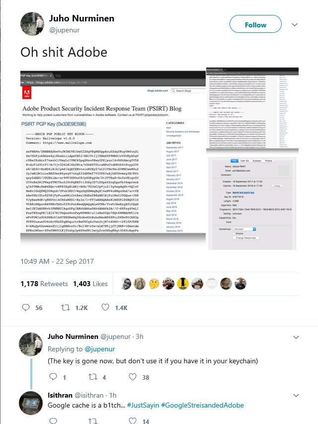 Adobe опубликовала по ошибке приватный PGP ключ
