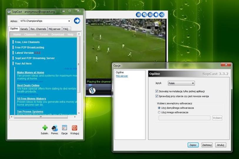 SopCast окно программы