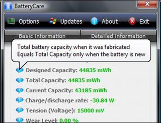 BatteryCare – продление ресурса батареи ноутбука